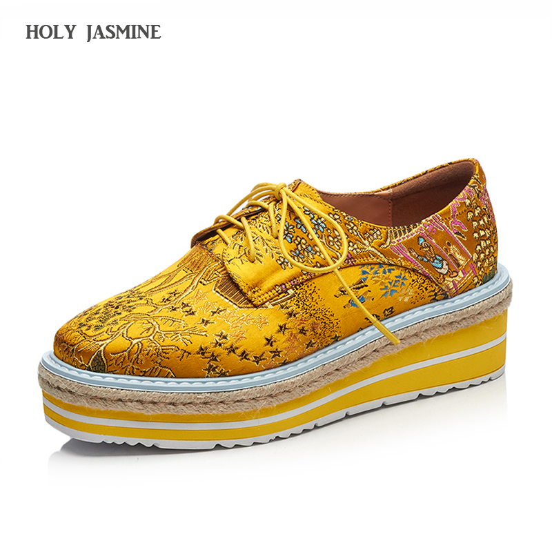 2018 New Embroider Brogue Casual Shoes Woman Oxford Shoes for Women Genuine Leather Height Increase Shoes Platform Shoes Women <br>