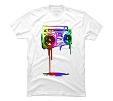 Bigaga Go New Summer Fashion Print Short Tees Melting Boombox (digital rainbow look) Graphic 100% Cotton O-Neck Men's T-Shirt