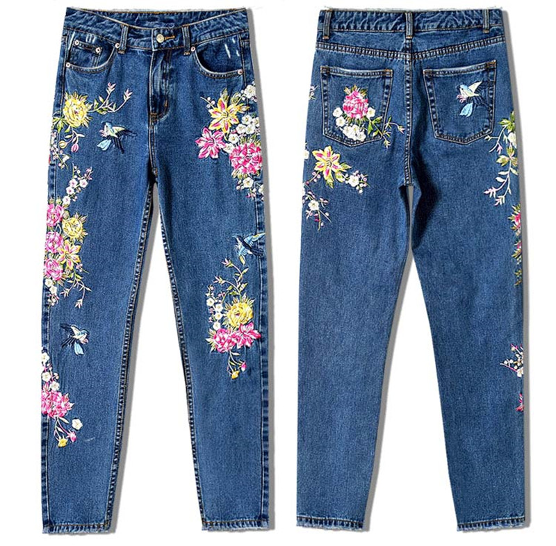 Women\'s three-dimensional 3D heavy process bird flower front and rear embroidery high waist Slim straight jeans large size system (12)