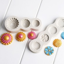 Mujiang Gem Buttons Relief Cake Border Silicone Mold Cupcake Fondant Cake Decorating Tools Candy Chocolate Gumpaste Moulds XL390