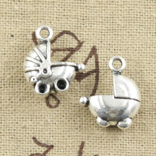 99Cents 8pcs Charms 3D baby carriage buggy pram 16*13mm Antique Making pendant fit,Vintage Tibetan Silver,DIY bracelet necklace