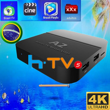 [Genuine]HTV5 A2 H.TV 5 HTV 5 BOX HTV3 Brazilian Portuguese TV Internet Streaming Box Live IPTV tv Movies Brazil Streaming Box(China)