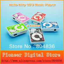 New Arrival Hot Sell 20pcs/lot Cute Hello Kitty MP3 Music Player Gift MP3 Player Support Micro TF Card 5 Colors Free Shipping