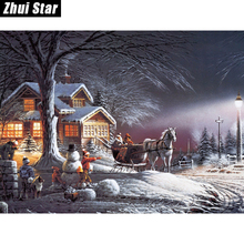 "5D DIY Diamond Painting ""Christmas Snow landscape"" Embroidery Full Square Diamond Cross Stitch Rhinestone Mosaic Painting Decor(China)"