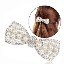 1PCS Fashion Women Girls Head Ornaments Hair Accessories Crystal Rhinestone Bow Hair Clip Beauty Hairpin Barrette