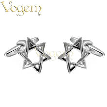VOGEM OL Pentagram Cufflinks High Quality 925 Sterling Silver Metal Cufflinks For Mens Wedding Engagement Cufflinks Jewelry