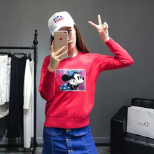 Korea 16 autumn winter new style jersey knitted casual relaxing red sweater pullovers women common tops mikey mouse outwears 018(China)