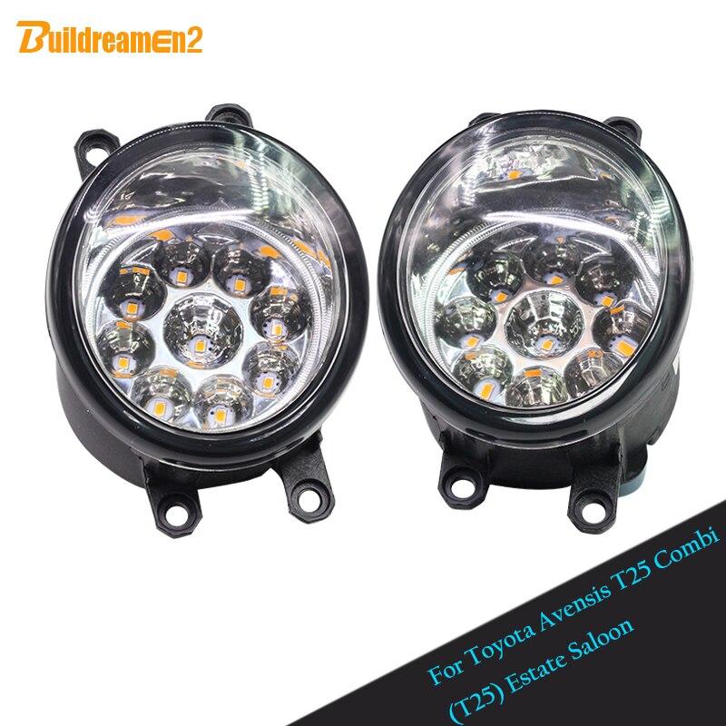 Buildreamen2 For Toyota Avensis T25 Combi (T25) Estate Saloon Car Styling LED Light Fog Light DRL Daytime Running Light 2 Pieces<br>