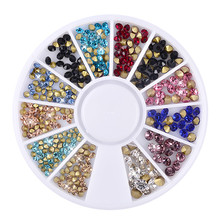 New glue on nail art 3d nail charms glitter studs round sequins acrylic nail supply fingernail decorations rhinestones for nails