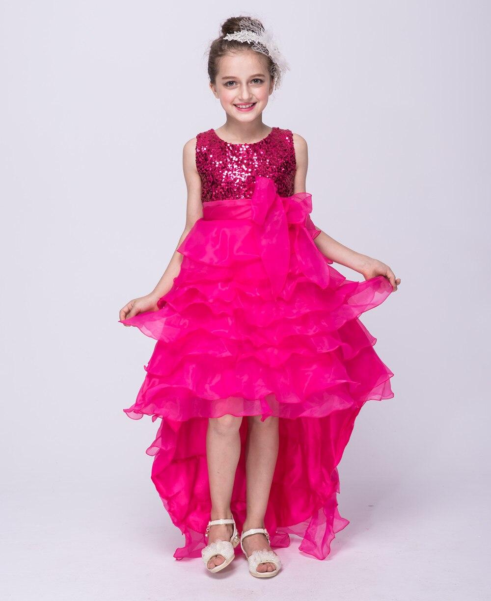 hot-pink-flower-girl-dresses girls dress elegant flower sequin short to long wedding dress with bow party<br><br>Aliexpress