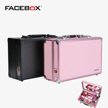 Aluminum Portable Lighted Makeup Box for Travel Beauty Box with Lights and Mirror suitable for Phone charge Pink/Black