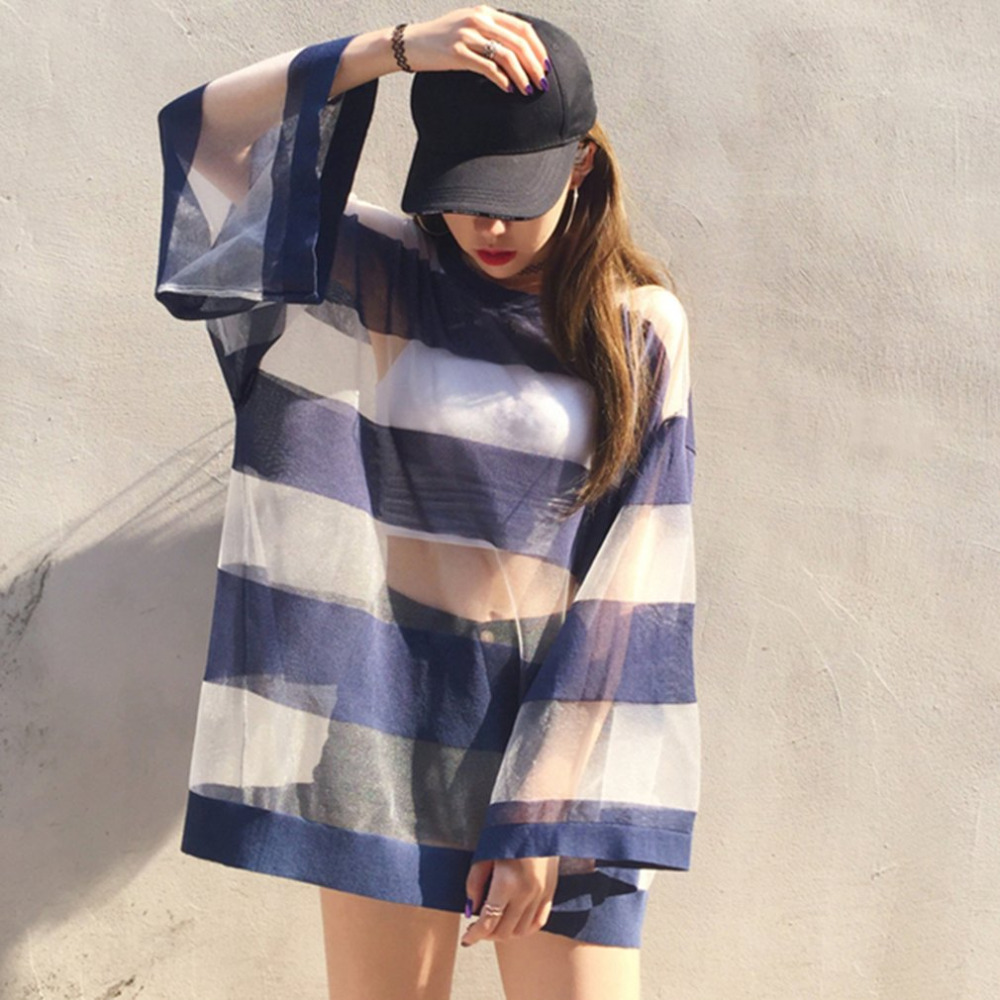 Women Striped Thin Ice Silk Sunscreen Clothing Summer sun protection Silk Long Tshirts Leisure Beach Clothes Lady Outwear Tops