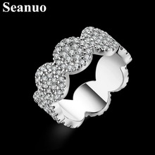Seanuo Luxury 108 pieces cubic zircon paved silver color round ring for men women fashion stainless steel CZ stone girl ring 7-9(China)