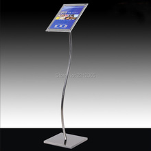 A4 Floor Standing Curved Post Menu Sign & Poster Holder Display Stand with Acrylic Picture&Signage Frames(China)