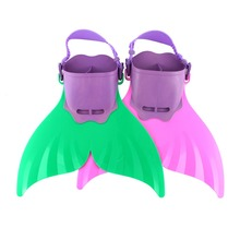 Adjustable Wave Fins Kid Swimming Fins Tail Diving Scuba Snornt Feet Tail Monofin Training Flipper Mermaid Kel Shoes Green/Rose