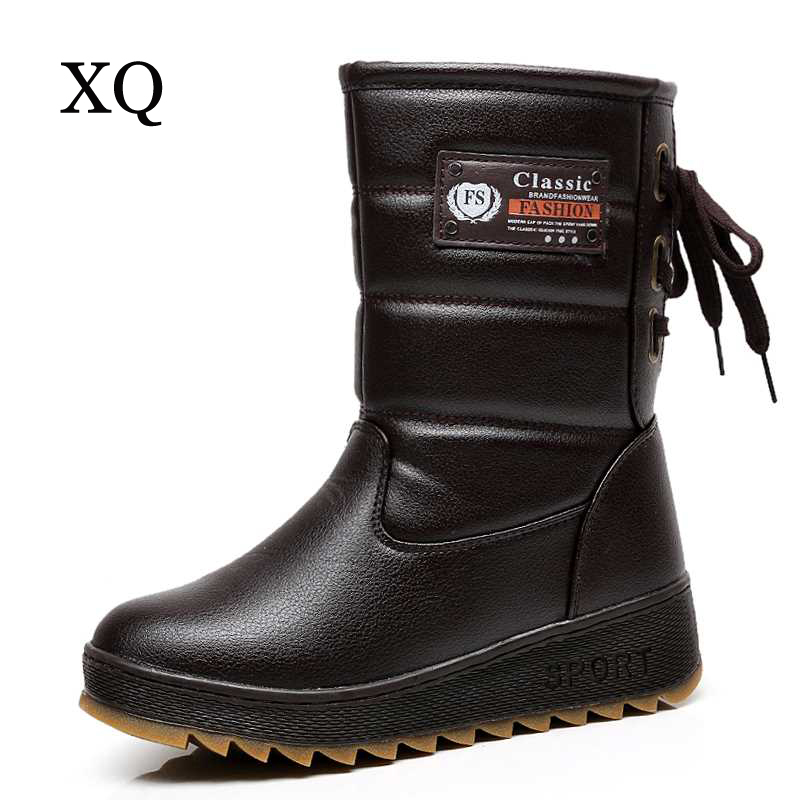 Women boots high quality waterproof snow boots warm winter shoes fashion cross-tied platform women mid-calf boots <br>