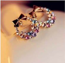 New Women's Fashion Imitation Colorful Rhinestone Bow Earrings Vintage Jewelry CED01(China)