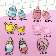 Cartoon Feeding bottle Crown Flatback Resin Cabochon Craft For diy mobile phone case headband supplies Decoration Scrapbooking(China)