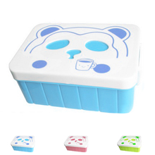 Children's Double Lunch Box Cartoon Student Square Cat Face Portable Plastic Food Box
