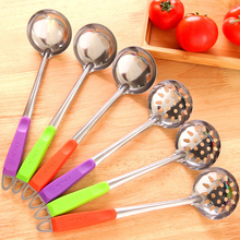 Stainless Steel Wall Hanging Long Handle Soup Ladle Spoon Skimmer Strainer Set Kitchen Cooking Hot pot soup ladle Candy color