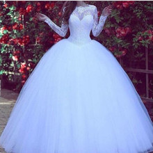 Muslim Arabia Long Sleeves Ball Gown White Wedding Dress 2016 for Pregnant Women