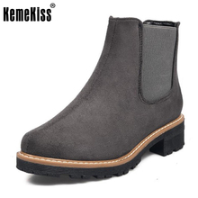 KemeKiss Office Lady High Heel Ankle Boots Women Round Toe Slip On Colid Color Boot Female Daily Work Leisure Footwears 33-43(China)