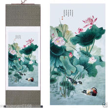 "40""Chinese SuZhou Silk Art Lotus Yuanyang Figure Silk Decoration Scroll Painting"