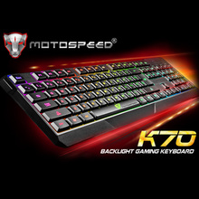 Gaming Wired Keyboard Motospeed K70 Waterproof Colorful LED Illuminated Backlit USB Wired Keyboard for PC Computer Games