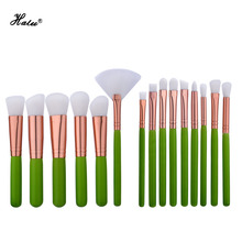 Halu design 15pcs25pcs green pink professional makeup brushes set contour blending blush eyeshadow make up brush set(China)
