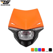 ZS Racing Motorcycle Motocross Headlamp Head Light Fairing Dirt Bike Led Lighting Street Fighter Grimace Case for Kawasaki CQR(China)