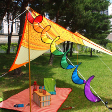 1Pcs Colorful Rainbow Banners Spiral Windmill Wind Spinner Camping Tent For Garden Decor Christmas Ornaments(China)