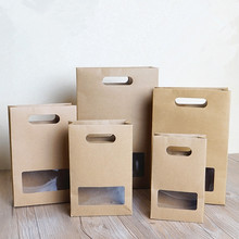 20*12.2*5.7cm Kraft Paper Bag With Window Biscuits Paper Bags Food Bags With Handle 100pcs/lot Free shipping