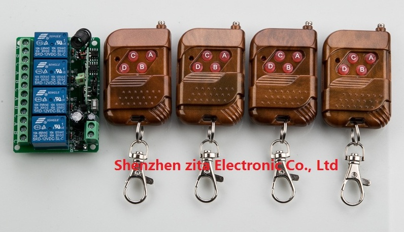 Hot sale DC12V 4CH RF Wireless Remote Control Switch System 4 transmitter &amp; receiver relay Receiver Smart Home Switch<br><br>Aliexpress