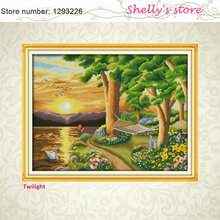 Twilight sunset riverside home paint Counted or Stamped Cross Stitch 11CT 14CT Cross Stitch Kits for Embroidery Needlework hot(China)