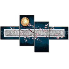 Dafen Oil Painting Village Artist Handmade High Quality 4 Panels Abstract Wintersweet Flowers Oil Painting for Living Room(China)