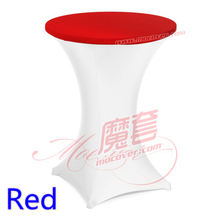 Red colour spandex top cover for cocktail round table lycra tablecloth wedding banquet and party cocktail table decoration