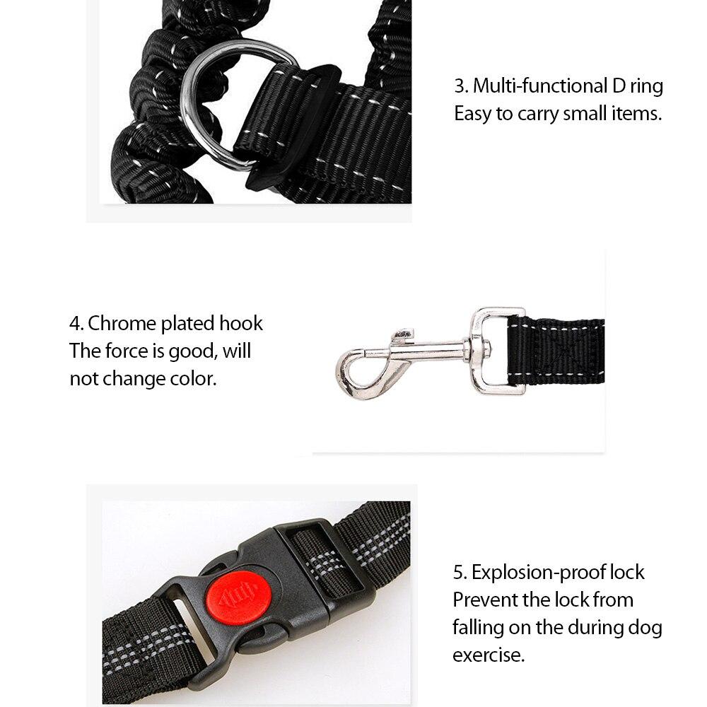 Black Pet Dog Leash Adjustable Hands Free Leash With Waist Belt For Jogging Walking Running Sports Training Dog Collar Supplies (2)