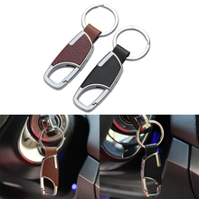 Car Styling Metal Head Layer Cowhide KeyChain For Chevrolet Spark Volt EPICA Malibu Camaro Cobalt Orlando(China)