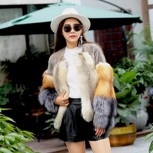 Arlene sain European big imports mink fur short coat hit color sand red silver fox coat free shipping 574(China)