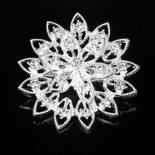 radiation flowers Silver Plated Brooch Rhinestone Brooches For Female Pins Lapel Women Wedding Scarf Clip Collar Tips Hijab Pin
