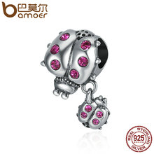 BAMOER Genuine 925 Sterling Silver Ladybug Story Clear CZ Dangle Charm Pendant fit Women Charm Bracelet Necklace Jewelry SCC364(China)