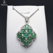 TBJ,Natural zambia emerald 9 piece oval5*7 cab gemstone pendant with chain necklace in 925 silver for women with jewelry box(China)