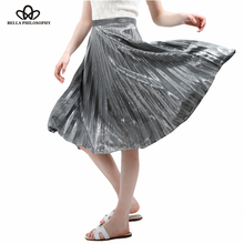 Bella Philosophy 2017 spring new Metallic Color large swing long pleated women skirt gold sliver purple blue green XS-XXL(China)