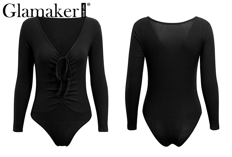 Deep V-Neck, Long Sleeve Women's Bodysuit, Sexy Drawstring Bodysuit 18
