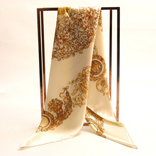 Big size square silk scarf european style 100% real natural silk scarf yellow luxurious wrappy for women silk scarf