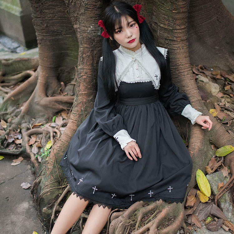 2018 Vintage Gothic Lolita dress Punk  College student style soft sister Japanese girl cute Lolita costume