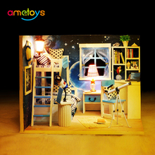 3D DIY House kids Space Dream Miniature Kit Dollhouse Room with Furniture LED Dustproof Cover box gift toy for children(China)