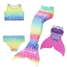 Girls 4 Colors Swimmable Mermaid Tail with Monofin Mermaid Swimsuit Bikini Fin Kids Swimming Children Mermaid Tails Costume(China)