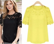 Buy Hot Large Size 2XL Women Clothing Summer New moda feminina Lace Shirt Round Neck Short Sleeve Chiffon Blouse Female Tops Shirt for $6.03 in AliExpress store
