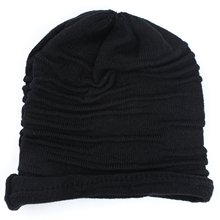 Winter Unisex Plicate Baggy Beanie Knit Crochet Ski Hat Oversized Slouch Cap Black(China)